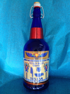 Premium Hand Crafted Tesla Blue Quartz Bottle 1 liter size.